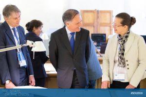 Minister Enzo Moavero Milanesi visiting the HAEU with HAEU Director Dieter Schlenker