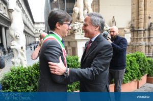 Dario Nardella (Major of Florence) welcoming Minister Enzo Moavero Milanesi