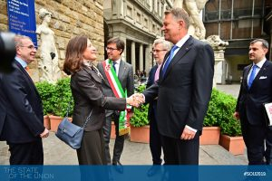 Klaus Iohannis (President of Romania) and Cristina Giachi (Deputy Major of Florence)
