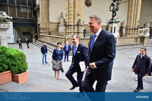 Klaus Iohannis (President of Romania) arrives at Palazzo Vecchio