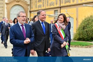 Minister Enzo Moavero Milanesi arrives at Villa Salviati