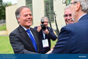 Minister Moavero with EUI President Dehousse and EUI Secretary General Grassi