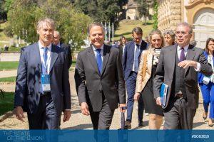 Minister Enzo Moavero Milanesi visits the HAEU with HAEU Director Dieter Schlenker and EUI Secretary General Vincenzo Grassi