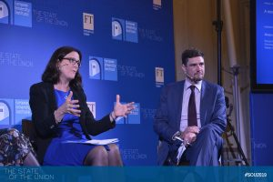 Cecilia Malmström (Commissioner for Trade, EU Commission) and Alexandre Stutzmann (Director for Committees, Directorate-General External Policies, EU Parliament)
