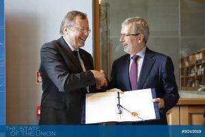 FdE - EUI President Renaud Dehousse and ESA Director Johann-Dietrich Wörner