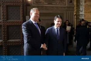 Giuseppe Conte (Prime Minister of Italy) and Klaus Iohannis (President of Romania)