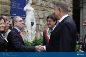 Klaus Iohannis (President of Romania) and EUI Secretary General Vincenzo Grassi