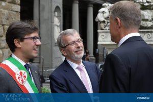 Klaus Iohannis (President of Romania) with EUI President Renaud Dehousse and Dario Nardella (Major of Florence)