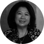 Black and white picture of Mari E. Pangestu