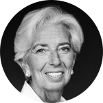Black and white picture of Christine Lagarde