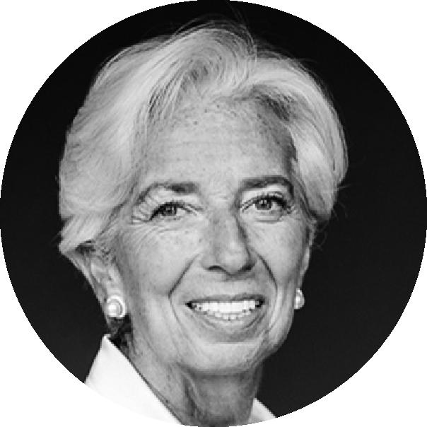 Black and white picture of Christine Lagarde